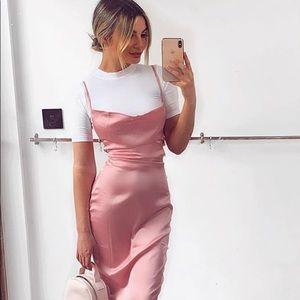 Baby Pink Sateen Belted Column Pencil Dress 10